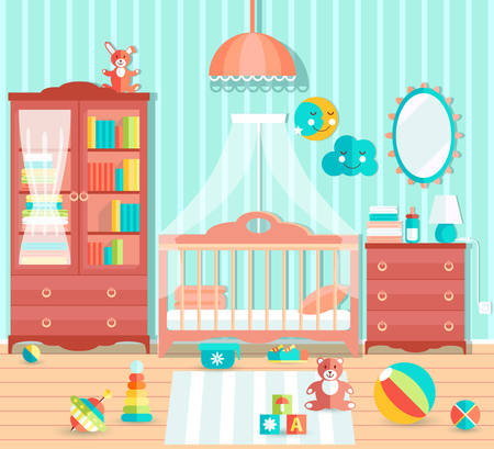toy chest: Baby boy room with furniture. Stylish cute blue colors. Flat sty