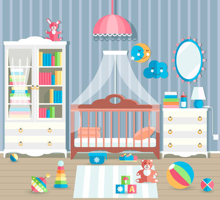 Baby room with furniture. Stylish cute colors. Flat style vector Illustration
