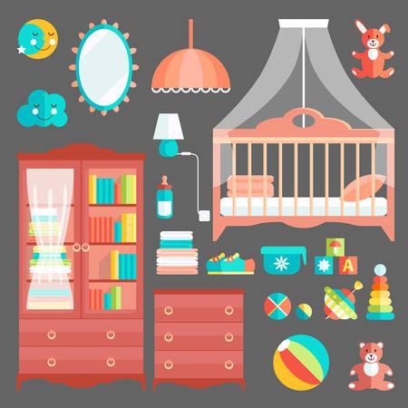 Meubles et jouets pour chambre de bébé. Couleurs mignonnes élégantes. Collectio Vecteurs