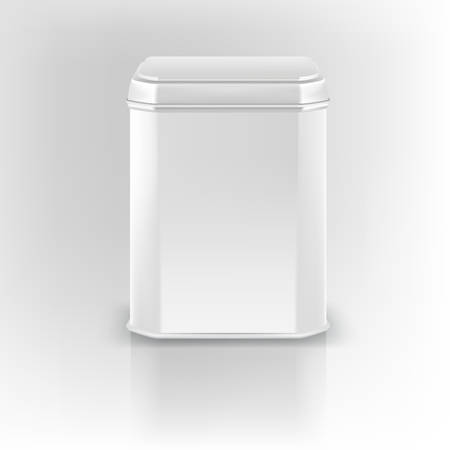 Vector 3d mockup. White square empty tin packaging. Tea, coffee, dry products. Place your design.