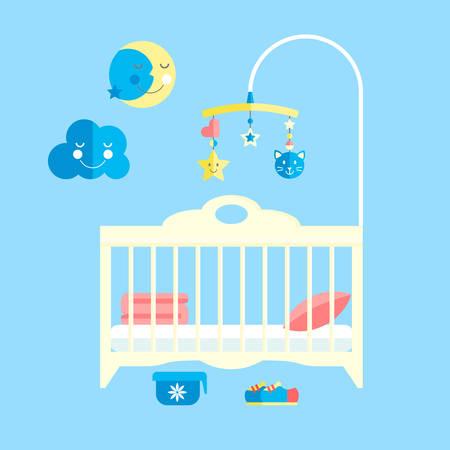 Lit bébé à écran plat. Chambre enfant avec mobile Vecteurs