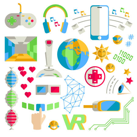 Doodle vector collection of virtual reality and innovative techn