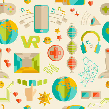 Doodle vector seamless pattern with virtual reality and innovati