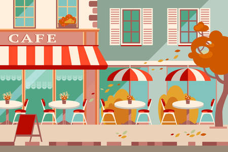 cartoon umbrella: Modern flat vector horizontal illustration. Outdoor cafe in the Illustration