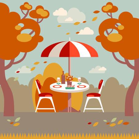 dinner date: Romantic autumn picnic for two. Flat modern vector illustration.
