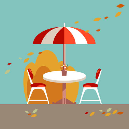 Simple table, umrella and chairs. Vector flat illustration. Picn