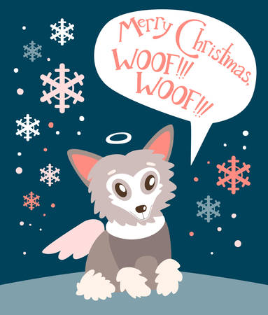 Christmas vector flat card with the cute puppy. New year holiday