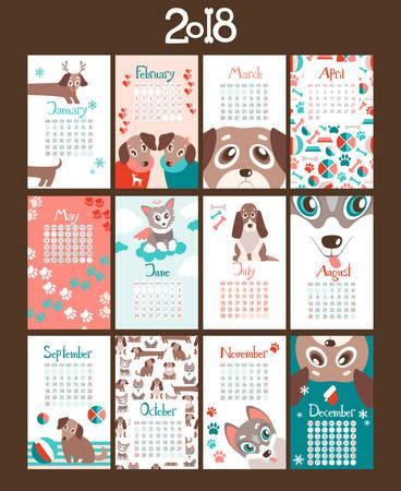 Creative Calendar 2018 With Cute Cartoon Puppies Different Breeds