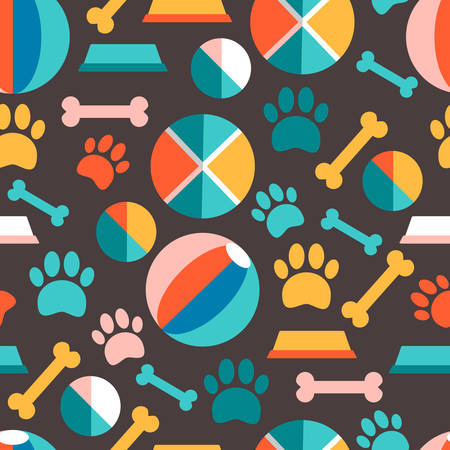 Vector seamless patern with puppys food, traces, bowls, toys. B