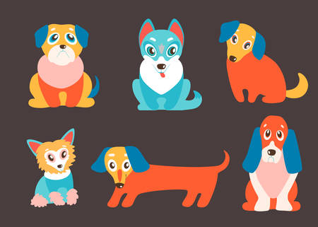 Vector set of puppies. Cute dogs, best friends. Pug, husky, dachshund, basset, retriever and Chinese Crested. Different breeds. Lovely pets