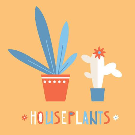 Simple bright flat houseplants Illustration