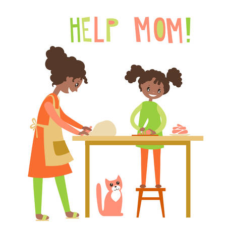 Mom and daughter cooking together. Home help, upbringing. Vector