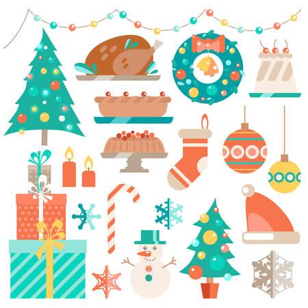 christmas pudding: Vector flat winter holiday set. Christmas symbols,  decoration a