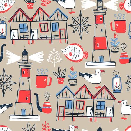 Vector doodle illustratie. Noordzee. Scandinavische stijl. seaml