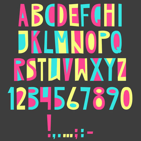 Vector English latin alphabet. Letters, numbers, symbols. Isolat Illustration