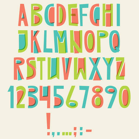Vector English latin alphabet. Letters, numbers, symbols. Isolates font, comic cartoon style Colorful