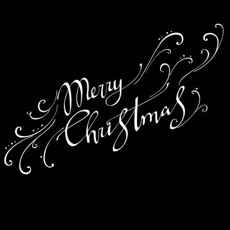 Merry Christmas text Calligraphic Lettering design card template. Illustration