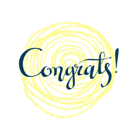 Congrats hand written lettering for congratulations card, greeting card, invitation, poster and print. Modern brush calligraphy. Isolated on background.