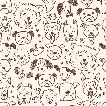 Funny doodle dog icons seamless pattern. Hand drawn pet, kid drawn design. Cute modern elegant style, different breeds 向量圖像