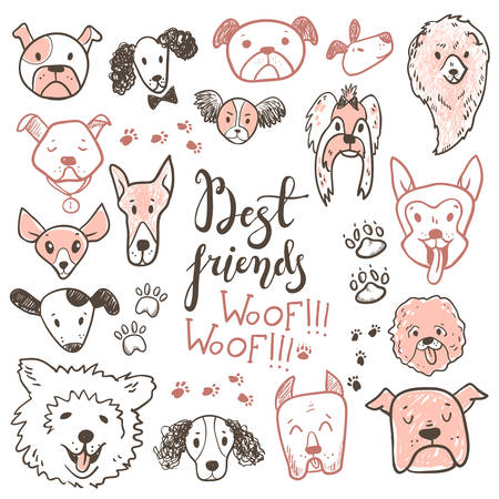 Funny doodle dog icons collection. Hand drawn pet, kid drawn design. Cute modern elegant style with different breeds.