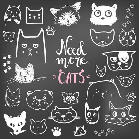 Funny doodle cat icons collection. Hand drawn pet, kid drawn Vector illustration.