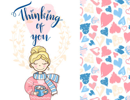 セーターとスカーフでかわいい夢の女の子とバレンタインホリデーカード。あなたのことを考えてレタリング。