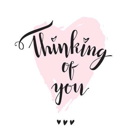 Thinking of you Vector modern lettering. Font composition on the pink heart. Isolated.