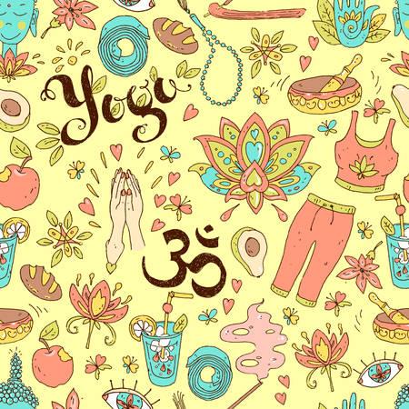 Vector mano dibujada de patrones sin fisuras. Equipos de yoga y accesorios, ambiente positivo. Foto de archivo - 93322420