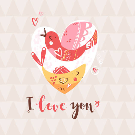 Bird and fish in the heart. Romantic composition. Metaphor of understanding in love. Vector illustration
