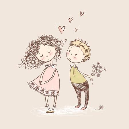 벡터 귀여운 스케치 스타일 젊은 부부. 발렌타인 카드입니다. 첫사랑. 소녀와 소년입니다.