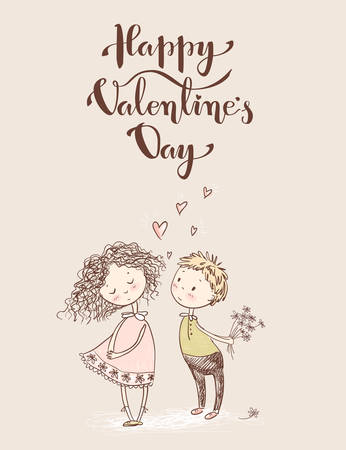 Vector cute sketchy style young couple. Valentines card. Happy Valentines day, hand lettering.The first love.
