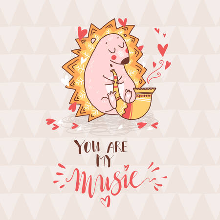 Cute cartoon dreaming hedgehog play saxophone, funny doodle romantic print. hand drawn letterin. You are my music. Vector illustration Stock Illustratie