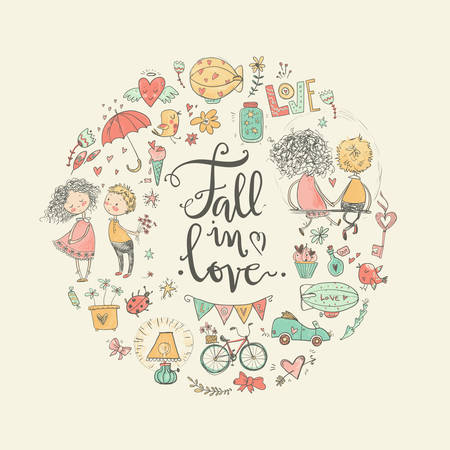 Cute fall in love illustration. Nice romantic isolated elements.