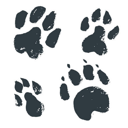 Black hand drawn isolated wild animal footprints. Grunge ink ill  イラスト・ベクター素材