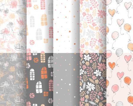 Collection of cute stylish patterns 版權商用圖片 - 94515023