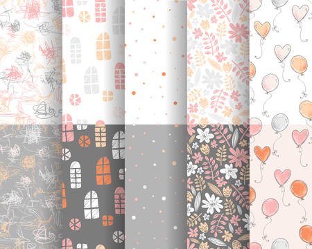 Collection of cute stylish patterns