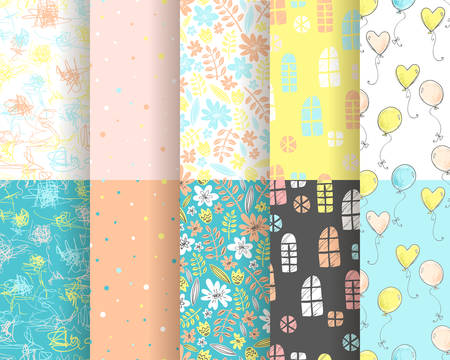 Vector collection of cute stylish seamless patterns for backgrounds, scrapbooking and decorations. Yellow and blue colors