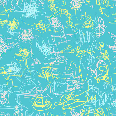 Seamless vector pattern. Scrapbooking, background, wrapping paper. Chaotic scribbles Kids drawn