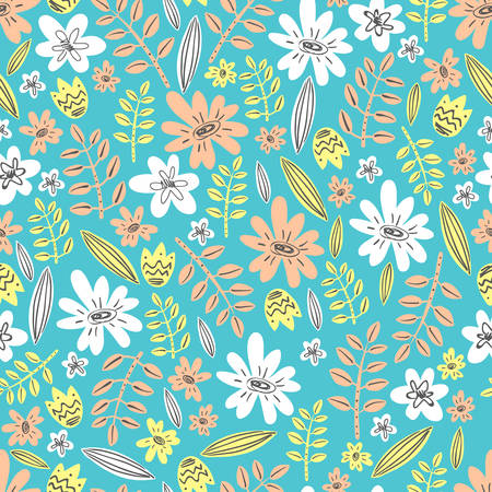 Seamless vector pattern. Scrapbooking, background, wrapping paper. Flowers and leaves Pastel colors