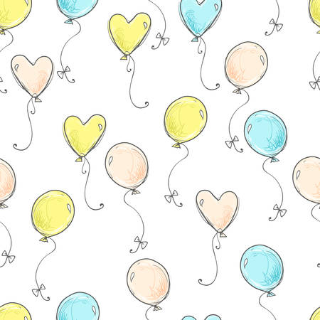Seamless vector pattern. Scrapbooking, background, wrapping paper. Air balloons fly Pastel colors