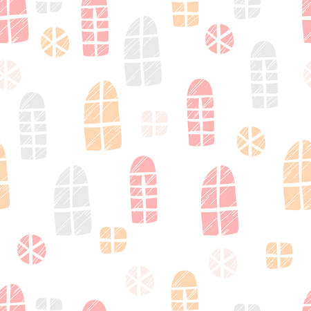 Seamless vector pattern. Scrapbooking, background, wrapping paper. Different windows Pastel colors