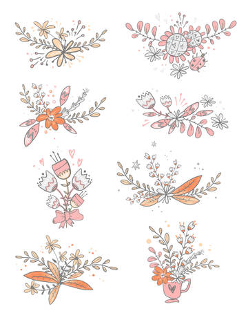 Vector collection of floral doodle bouquets. Flowers,leaves, herbs. Cute wedding card  decorations. Illustration