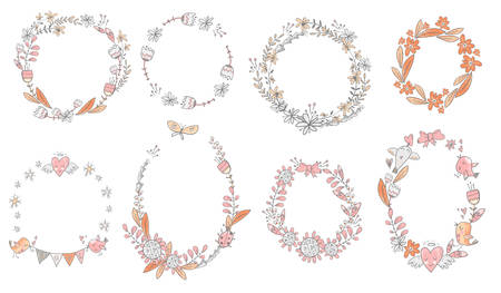 Vector collection of floral doodle wreath. Flowers, birds and hearts. Cute wedding  decorations. Vettoriali