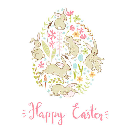 Vector sweet bunnies, flowers and branches, Easter cute card tem