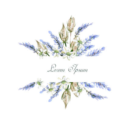 Watercolor hand drawn frame. Invitation template. Flowers, herbs Stock Photo - 97796807
