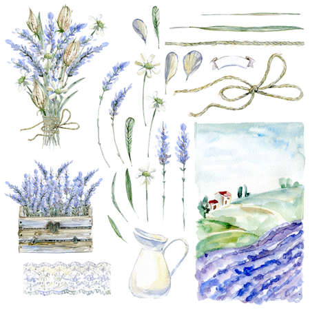 Set of hand drawn watercolor clipart. Provence atmosphere, laven 스톡 콘텐츠
