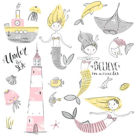 Cute little mermaid set. Believe in miracle. Textured vector illustration. Scandinavian style. Mermaids, corals and fishes. Vector illustration.