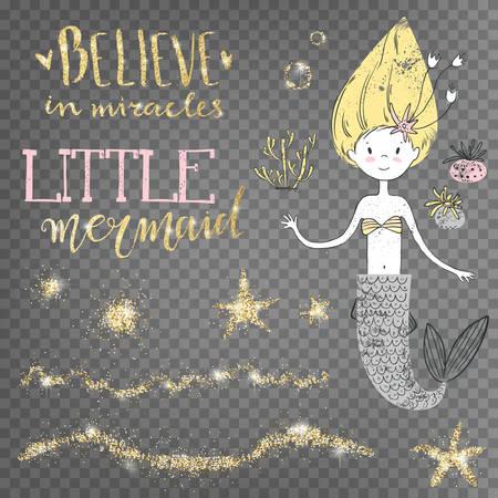 奇跡を信じなさい。リトルマーメイド。黄金の光沢のある装飾。