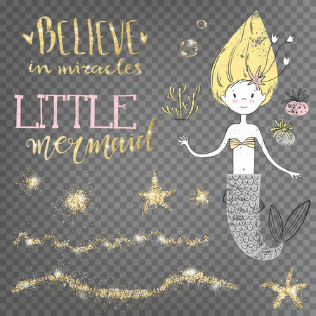 Believe in miracles. Little mermaid. Golden shiny decorative.