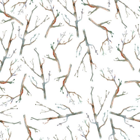 Watercolor seamless pattern with branches. Minimalistic scandina Stock Photo